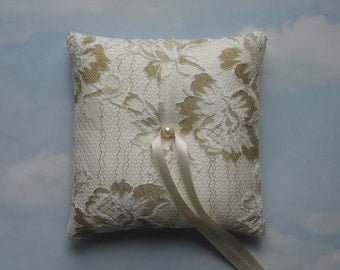 Ivory and gold ring bearer pillow.