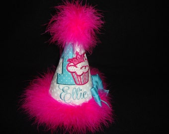1ST Girls Crown Cupcake Birthday Hat Hot Pink Teal Party Hat Cupcake Cake Smash Grannies Embroidery
