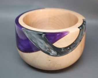 Handmade Turned & Carved Wooden Bowl made from Maple Wood with a Dazzling Purple and Silver Pearl Resin Inlay - Collectible ; Wedding Gift
