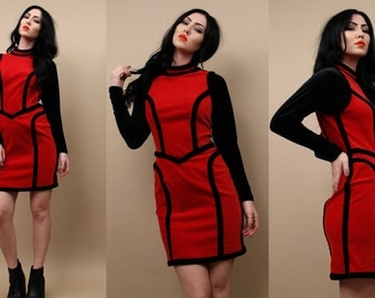 80s 90s Vtg MOSCHINO Body Con Mini Dress / Corset Boning Stretch VELVET Black + Red Vamp Sexy Color Block Long Sleeve / Small - Medium