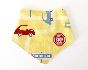 Dribble bib. Bandana bib. Baby toddler traffic cars. Traffic signs. Yellow. Boys. 0-2 years