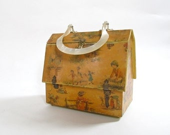 Vintage House Hand Bag . Box Purse Shaped Like A House . 1960s Wearable Kitsch