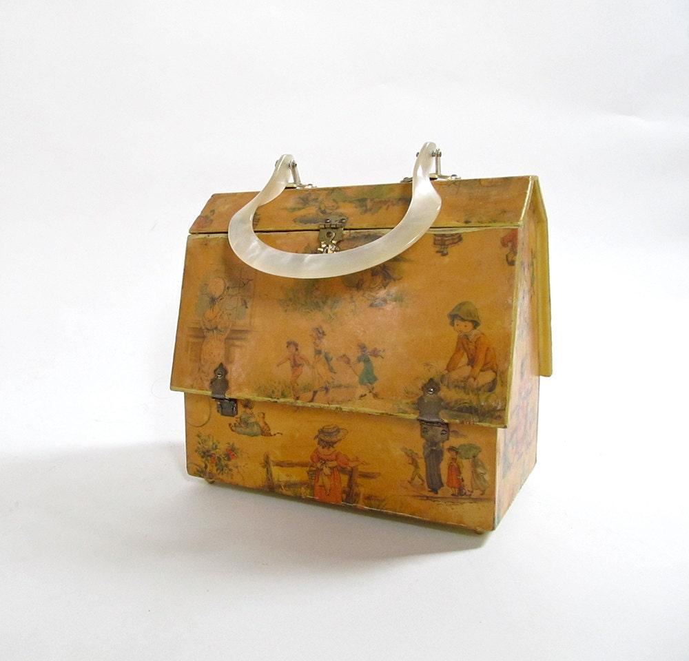 Vintage House Hand Bag Box Purse Shaped Like A House 1960s