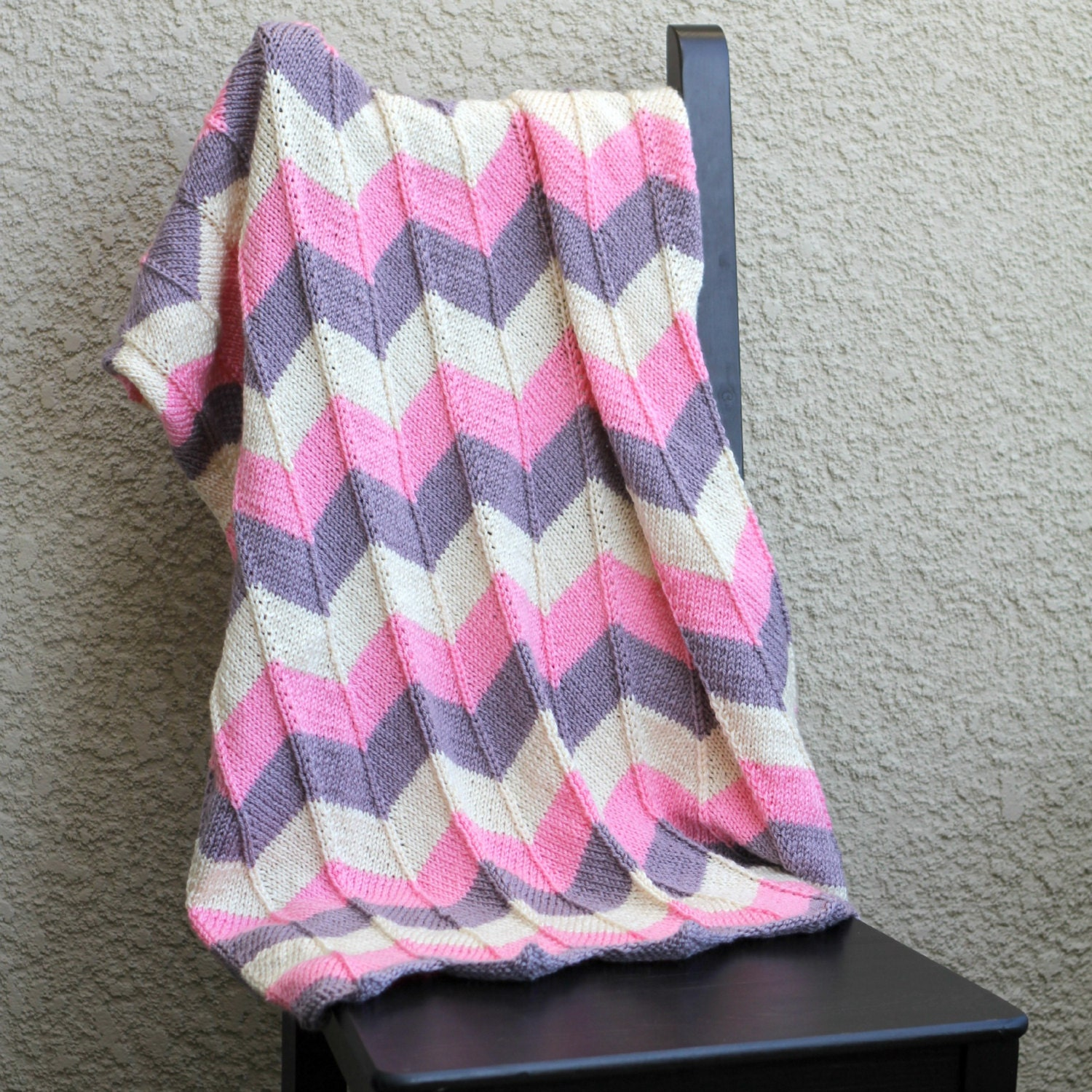 Chevron Afghan Pattern Knit : Knit blanket chevron blanket baby blanket in purple pink