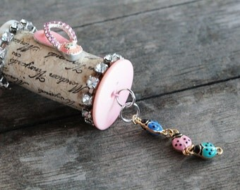 Wine Cork Bella Vintage Bubble Gum at the Beach is One of a Kind decorative cork ornament