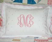 Monogrammed Pink Scalloped Baby Pillow