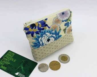 Credit Card Pouch, Change Wallets, Zippered Coin Case, Kimono Cotton Fabric Chrysanthemum