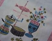 Vtg. Tea Dish Towel MCM Pink Fish Pastels