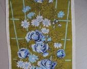 Vtg. Tea Towel Lavender Roses
