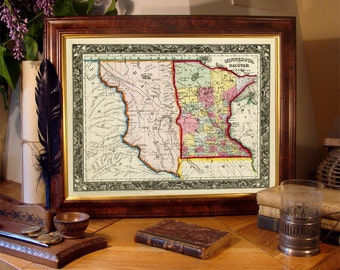 Minnesota  map - Dakotah  map -  Vintage state maps prints