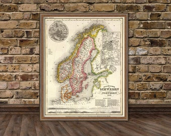 Norway Map Poster Etsy - Norway map poster