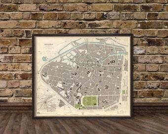Bruxelles map - Antique map - Vintage map of Brussels - Antique Brussels  city map Print
