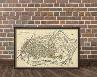 Wonderful reproduction of Strasbourg  map - Vintage map of Strasbourg