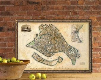 Map of Venice - Wonderful vintage map - Archival print of Venice map