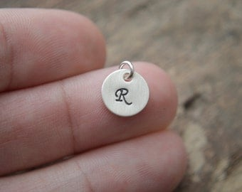 ADD INITIAL CHARM Sterling Silver Initial Disc Charm - 9.5mm