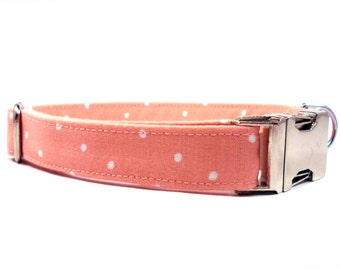 Dog Collar, POLKA Dot in BLUSH, GIRL Dog Collar, Handmade