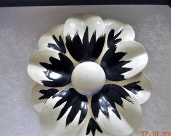 Enamel Black and White,  Flower Brooch