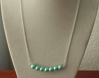 Turquoise Pearl Bar Necklace