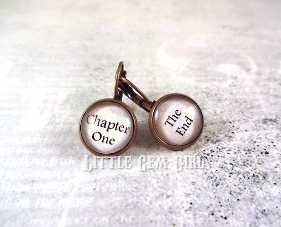 Book Lover Earrings 12mm Chapter One The End Antique Copper Dangle Earrings - Reader Literary Earrings - Librarian Gift Teacher Writer Gift