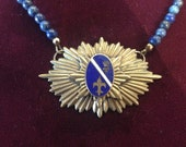 Heraldic medal necklace with fleur de lis and crown, watch fob and lapis