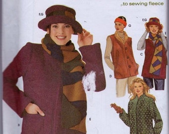 Simplicity 9820 Misses' Jacket in Two Lengths or Vest and Scarf, Hat and Headband Pattern, UNCUT, Size Large, X Large, Warm, Cozy, 2001