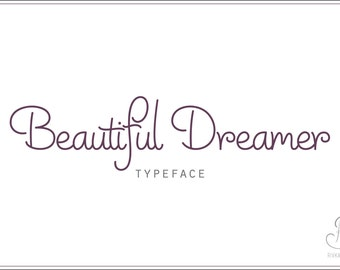 "Handwriting Font download ""Beautiful Dreamer"" // OTF / TTF Open Type Fonts //Digital Download // Personal Use"