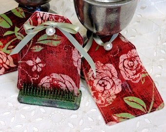 Rose Fabric Tags, Cotton Quilt Labels, DIY Everyday All Occasion Gift Hang Tags, Place Cards, Name Tags, Bookmarks itsyourcountry