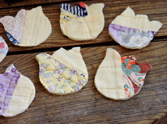 Quilted Tulip Appliques, Vintage Cutter Quilt Fabric ...
