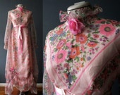 60s 70s Pink Waverely Floral Sheer Maxi Dress Southern Bell Dress