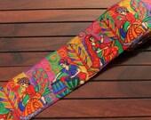 1 Yd-Multi Coloured Silk Fabric Trim-Silk Sari Border-Art Quilt Fabric-Sari Fabric Trim-Embroidered Fabric Trim-Silk Ribbon Trim By The Yard