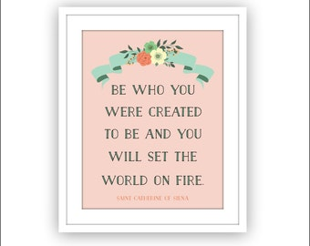 Typography Inspirational quote, Be who you were created to be Wall Art Print