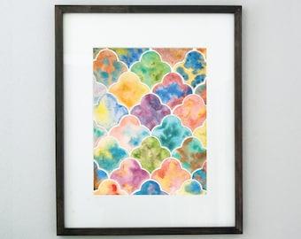 Rainbow Quatrefoil Painting, 8x10 Original Pattern Art, Modern Islamic Wall Art, Geometric Contemporary Art, Colorful Arabesque Painting