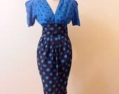 80s Polka Dot Swing Dress    37b/26w