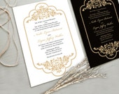 Timeless and Elegant Wedding Invitation Suite, White and Gold, Black and Gold, other color combinations possible.