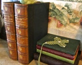 2 Antique Leather Ornate books 1911 Enclyclopedia Table Decor Vintage Library Navy Blue Brown large book bundle Wedding Party center piece