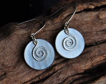 Mother of Pearl & sterling silver koru earrings