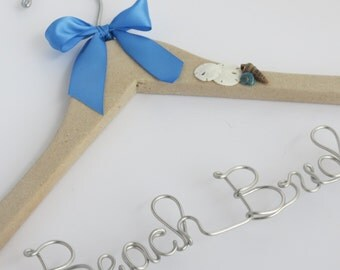 Personalized Hanger, Beach Theme, Seashells, Starfish Hanger, Beach Bride, Wedding Dress Hanger, Bride Gift
