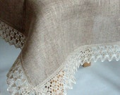 Linen Tablecloth Square Tablecloth Burlap Tablecloth Rustic Tablecloth Prewashed Linen Lace 60'' x 90''