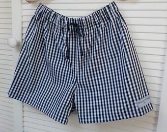 Women's boxer shorts, bed shorts, black and white check gingham, bloomers, pajama / pyjama shorts, beach shorts, underwear, sleep shorts