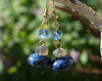 Earrings Lapis Lazuli Labradorite Swarovski Gold Dangle Blue