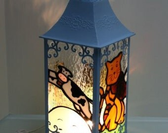 Custom Made Nursery Rhyme Themed Stained Glass Lantern w/ Electric Light