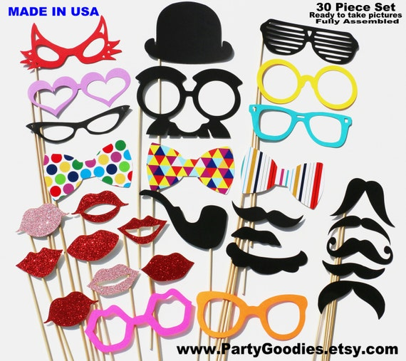 Photo Booth Party - 30 Piece Party GLITTER Set - Wedding PhotoBooth Props