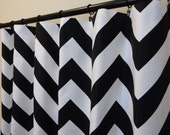 "Pair of Black and White Chevron Zig Zag Zippy Curtains 50"" x 63, 72, 84, 96, 108, 120 Extra Long Contemporary curtain panels"