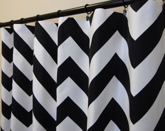 Black White Chevron Curtains  Rod Pocket  63 72 84 90 96 108 120 Long x 25 or 50 Wide