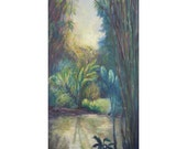 Large Original Oil Painting Bamboo,  Tropical Garden ,Huntington Library California, Shirin Mackeson
