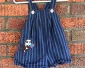 Navy blue striped baby boy size 9-12mo Vintage jumper Panda Bear