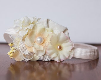 Baby Headband or Clip - Ivory /Light Yellow Headband - Photo Prop - Baby - Newborn - Teen