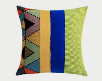 "Decorative pillow case, Black, Blue, Green, Yellow color fabrics, Art Throw pillow case, fits 18"" x 18"" insert, Cushion case, Toss case"