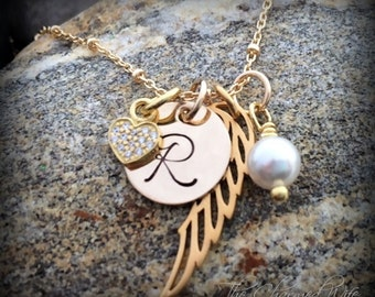 Gold Initial  Jewelry - Gold Angel Wing Necklace - Gold Filled Angel Wing Jewelry - The Charmed Wife - Memorial Gifts - Sympathy Gift Ideas