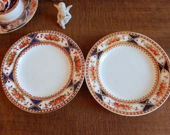 Two small porcelain tea plates by English Bell China, pattern number 1675, 1930s